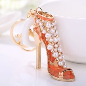Accessories - Peach & Gold High Heel Studded w/ Pearls Keychain